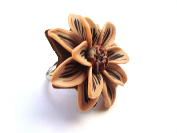 Flower Ring. Polymer Clay Ring. Nude Beige and Brown Large Flower Adjustable Ring. HandCrafted Flower Jewelry