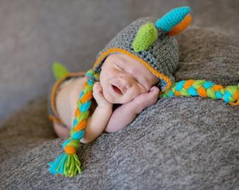 Dinosaur Hat and Diaper Cover newborn crochet costume prop set