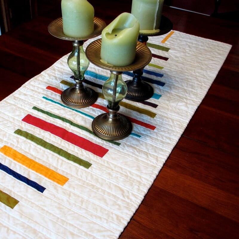 Moderntable runner quilted table runner stripes for Modern table runner