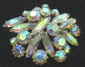 Vintage AB - Aurora Borealis Rhinestone Brooch Pin-Gorgeous