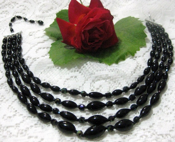 Vintage 4 Strand Black Glass Bead Necklace-Japan
