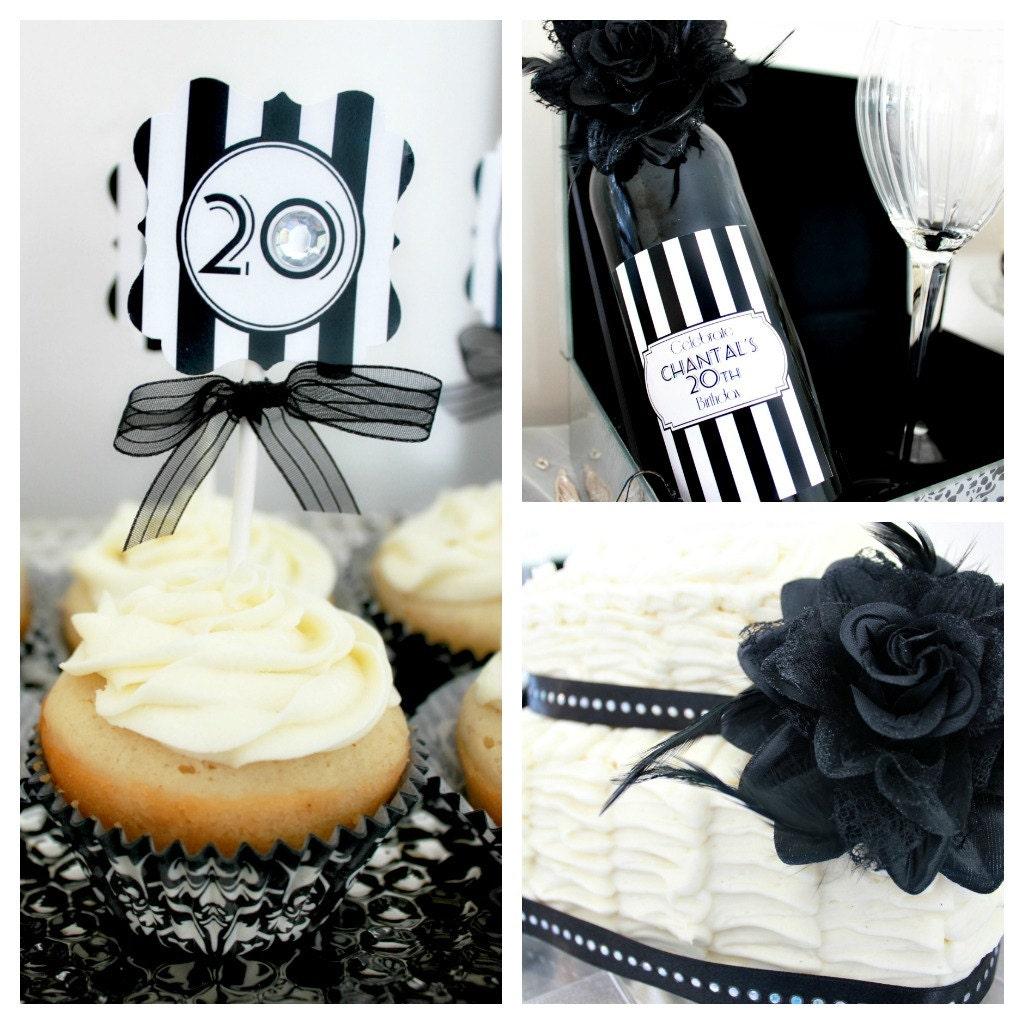 Party Decorations Halloween: Roaring 20s Birthday Decorations. Black & White Glam Birthday