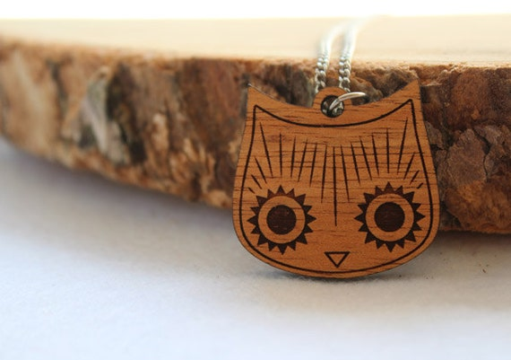 Wood laser cut necklace pendant cat Owl head stainless steel chain natural wooden finish