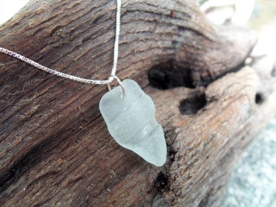Sea glass jewelry,  Very pale blue arrowhead shaped sea glass with ridges