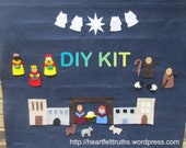 Christian Advent Calendar DIY Kit for Christmas CountDown in Dark Blue Ready to Ship