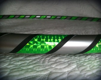 Industrial Shock Dance & Exercise Hula Hoop COLLAPSIBLE or  Push Button - neon green black silver