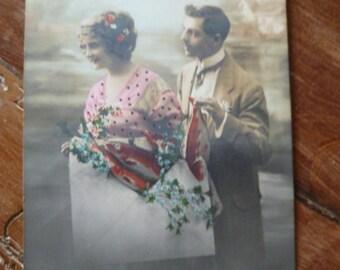 Art Nouveau Postcard April Fools 1st of April Vintage French Hand Colored Photo