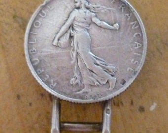 Antique Coin Jewellery Fob Silver O. Rety 2 Franc Coin Millenery Flower / Tie Clip