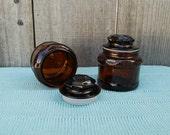 Set of 2 - Brown Vintage Apothecary Jars