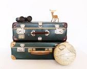 Vintage retro green and brown suitcase