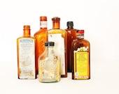 Vintage Italian 1950 amber apothecary bottles