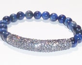 Beaded Bracelet with Blue Tigereye Semiprecious Gemstones and Gunmetal Crystal Bar