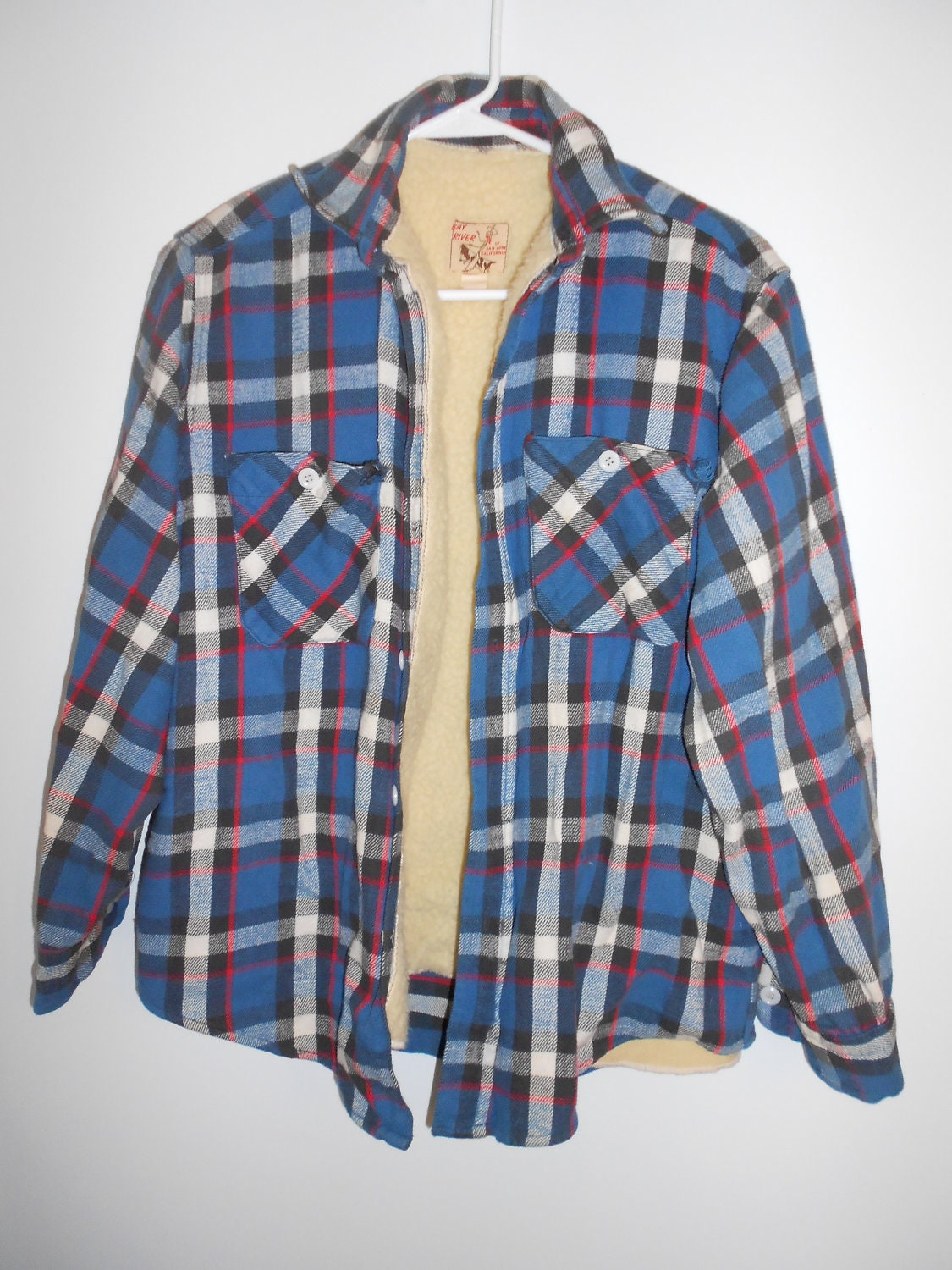 plaid flannel shirt jacket fleece lined vintage