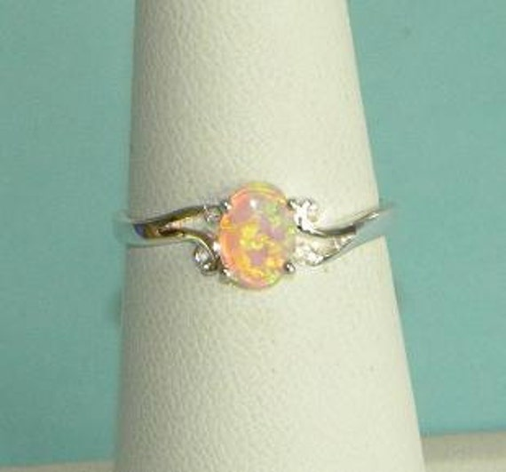 Fire Opal Authentic Genuine Australian Gemstone Ring Sterling Silver 925 Band Size 7 Take 10% Off