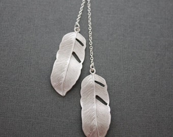 057- Ascension- Sterling silver double feather necklace, gift, symbolism