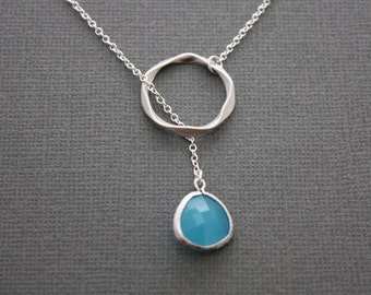 021- Sterling Silver ring lariat necklace with framed glass stone, gift,chic, casual, modern