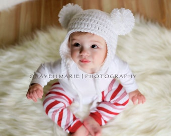 Baby Bear Pom-Pom Hat, Polar Bear Earflap Beanie