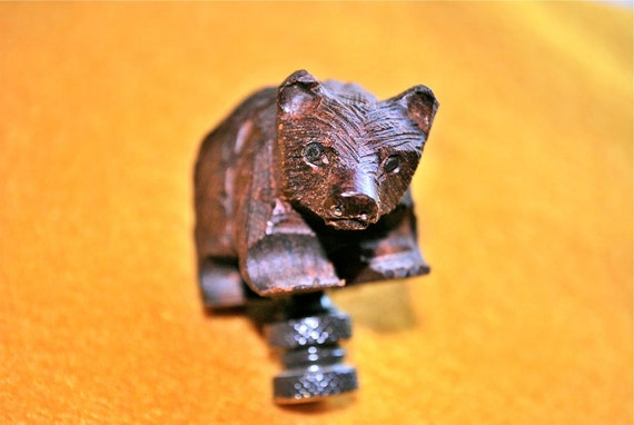 Bear Lamp Finial Carved from Ironwood, Fits a Standard Lamp