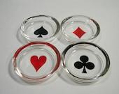 Federal Glass Ashtray Coaster Card Bridge Heart Diamond Club Spade Set