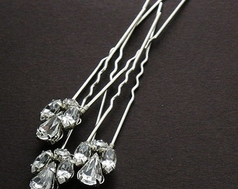 Set Of 3 Or 5 Classic Crystal Rhinestone Hairpins - Bridal Hairpins - Wedding Hair pins