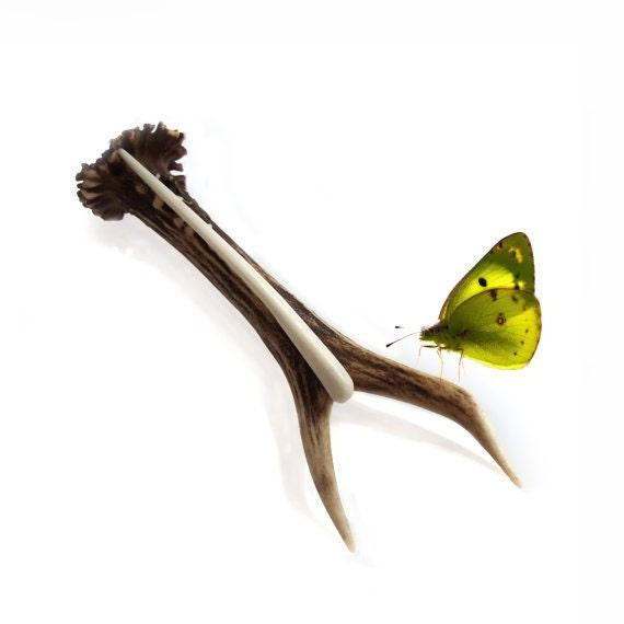 Shawl Pin, Hair Stick, Deer Antler, Bone Carving, Hairpin, Natural color in ivory, Hair Accessory, Tribal, MariyaArts