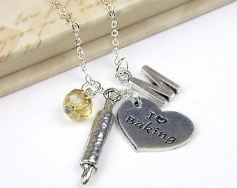 Personalized Baking Necklace with Your Initial and Birthstone