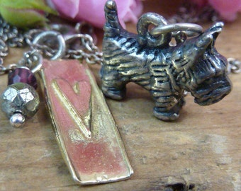 Puppy Love VINTAGE  SCOTTISH TERRIER  sterling charm with bronze heart Sundance Style necklace