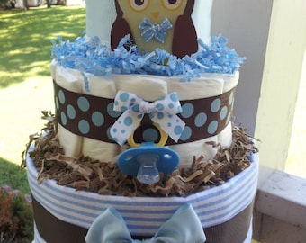 OWL 3 Tier diaper cake Forest theme Blue, brown and white