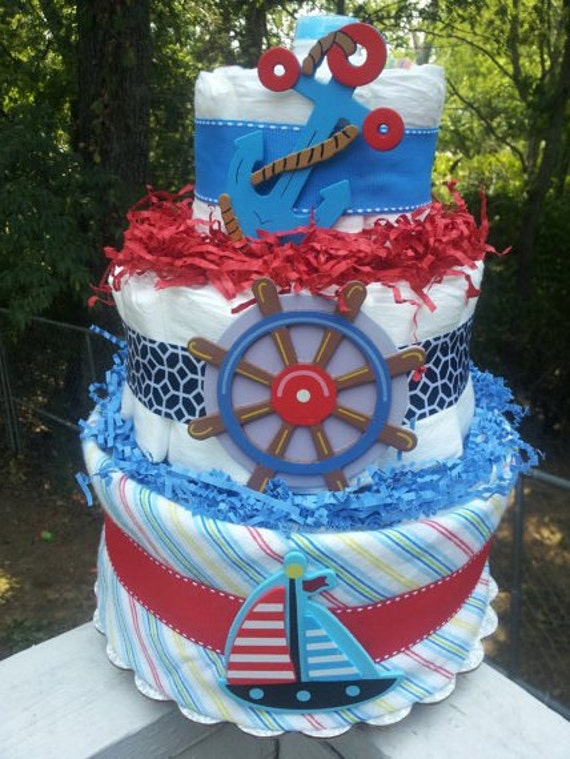 Nautical Sailboat 3 tier diaper cake baby by diapercake4less