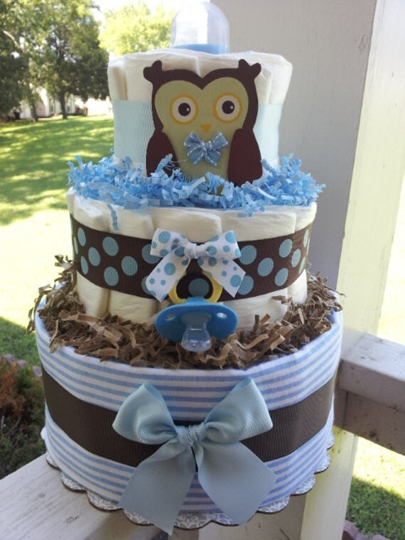 OWL 3 Tier diaper cake Forest theme Blue brown and white