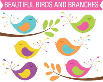 80% OFF Sale Clipart Birds, Clipart Tree Branch, Digital Birds, Clipart Trees, Clip Art Birds, Clip Art Trees, Nature Clipart