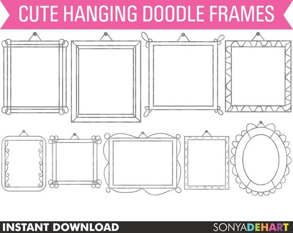 80% OFF SALE Clipart Hanging Frames Hand Doodled Royalty Free Clip Art