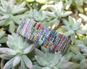 Allie: Multi-Colored Hand-Dot-Painted, Wooden Bangle Bracelet