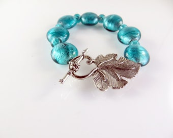 """Blue foil beaded  bracelet   (6 1/2"""")"""