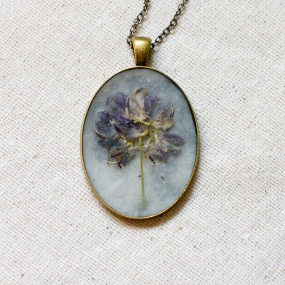 pressed flower necklace lavender wildflowers on paper handmade pendant unique garden jewelry shabby chic cottage flower boho