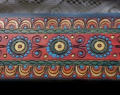 Hand Painted & Carved Folk Art Wooden Box