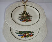 Vintage Serving Platter Cuthbertson Original Dickens 2 Tiered Tray Embossed Christmas Serving