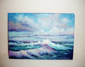 Vintage Oil Painting Original on Canvas Off Shore Tempest II Wall Hanging Unframed
