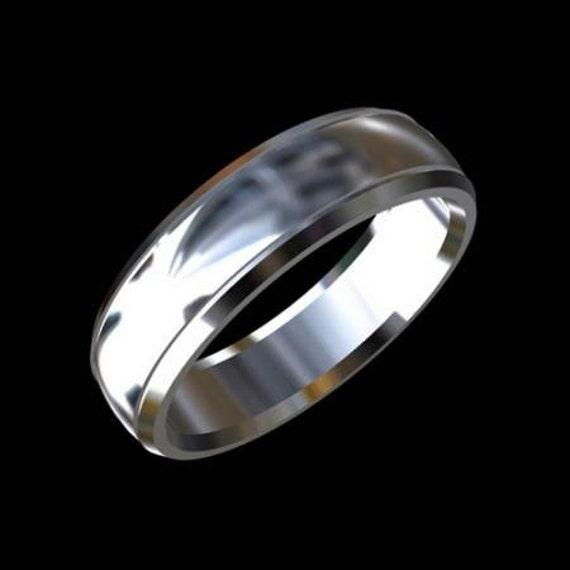 Men's Platinum Wedding Band Ring 6mm Wide