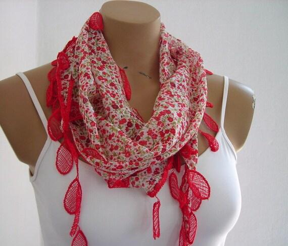 Flowered Red Scarf Yemeni Fabric Cotton Scarf