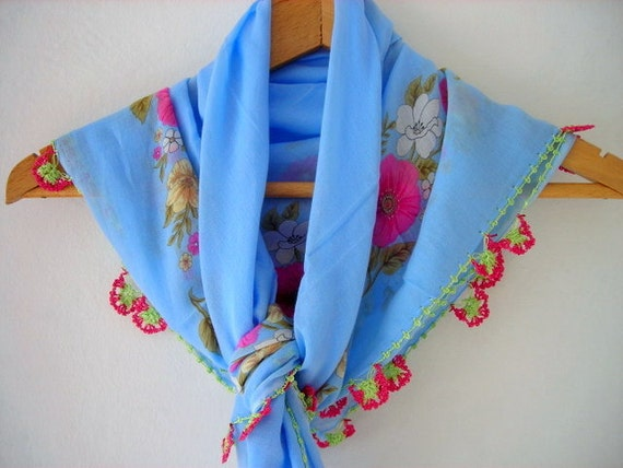 Needle Lacework Turkish Traditional Cotton Shawl Blue Pink Floral Womens Scarf Scarves