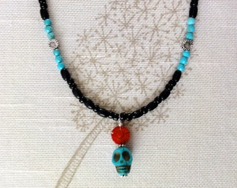 Dia de los Muertos Necklace - Turquoise skull w/ red coral flower