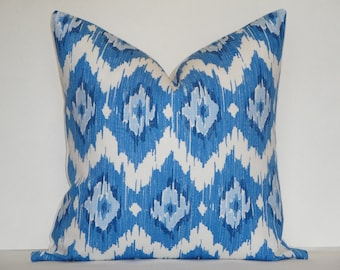 Duralee - Quinn In Blueberry / Decorative Pillow Cover /Throw Pillow / Accent Pillow / Blue / White /  IKAT