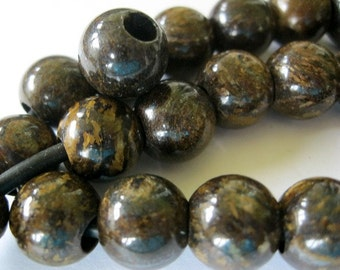Large 4MM Hole Bead Bronzite12MM Round Brown Golden Gemstone 9 Beads Fits Leather Cord