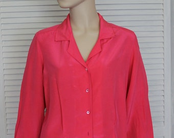 Vintage Hot Pink Silk Blouse Size 10 by Buffums