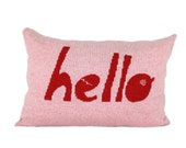 Decorative Pillow -Hello - soft knitted pillow - pink, red, 12x18, includes insert