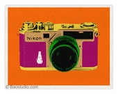 Vintage Nikon SP Camera (Orange/Plum) - 8x10 Pop Art Print