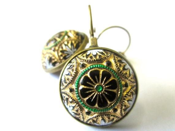 Vintage glass floral earrings.  Black glass with green, gold, & white