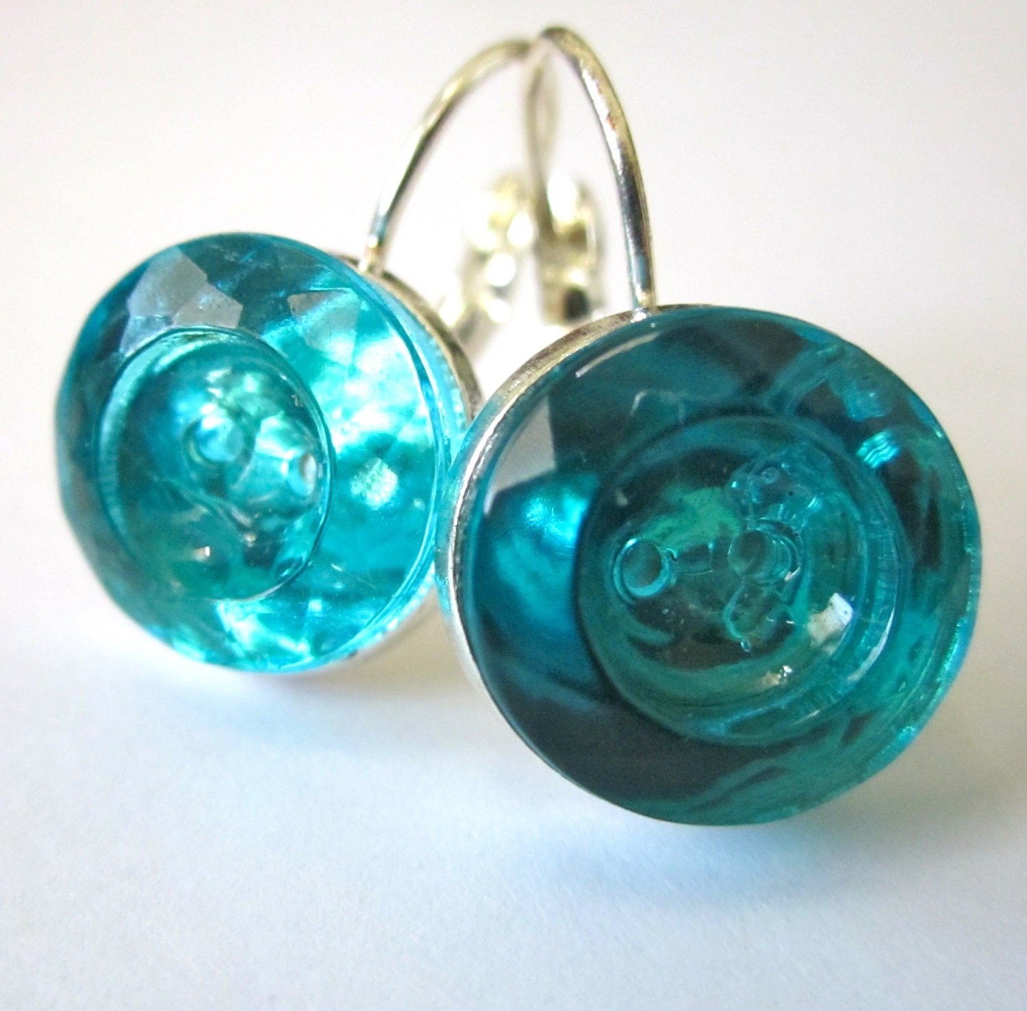 Button Earrings: Vintage Glass Button Earrings AQUA Color Glass Buttons