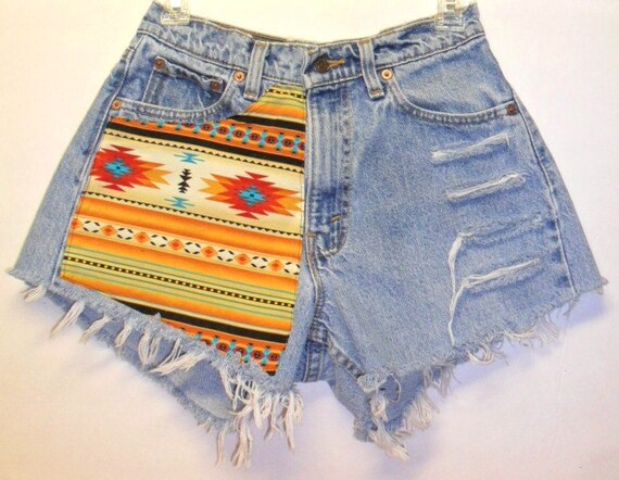 Levis  High Waisted Denim Shorts --Southwestern Print  --Waist  28 inches